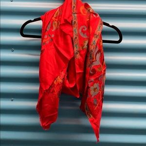 Jaipur Red Silk Cashmere Scarf Wrap